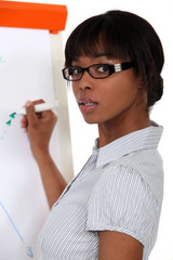 Woman writing on flip-chart