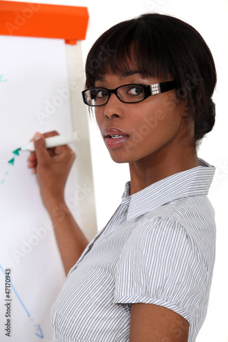 Woman writing on flip-chart