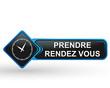 prendre rendez vous sur bouton web carré design bleu