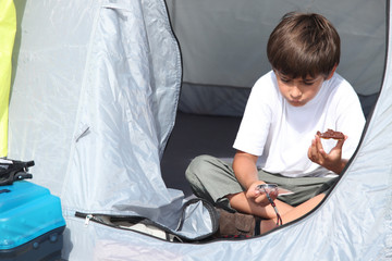 Child in tent