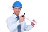 Confident foreman on white background