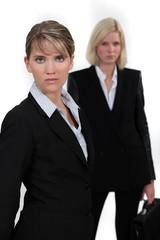two businesswomen posing