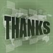 Thank you - thanks word on digital screen - social