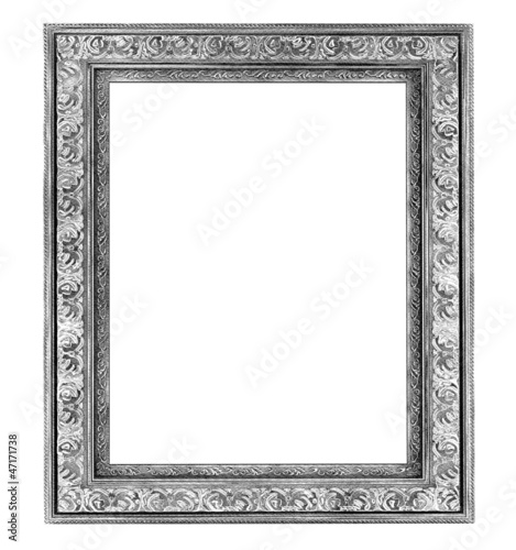 Vintage silver frame, Digital drawing illustration.
