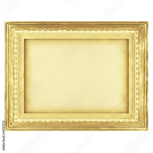 Vintage art gold frame, Digital drawing illustration.