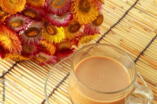 Paper flower with hot coffee