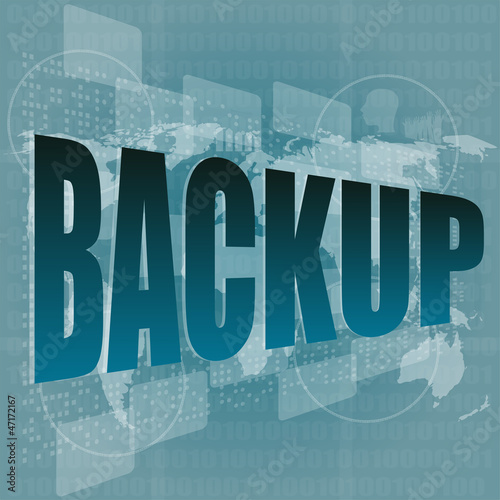 word backup on digital screen - business concept