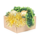 Box with decorations for Christmas tree isolated on white