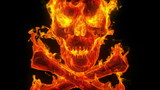 Burning skull and crossbones