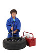 Kid dressed as mechanic