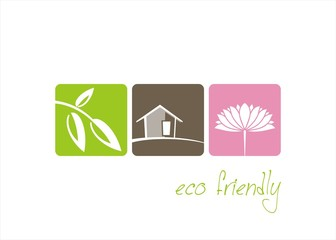 Home , plant, water lily , nature, Eco friendly business logo