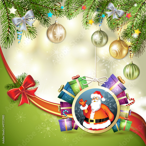 Christmas card with gift and Santa