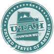 Grunge rubber stamp with text Utah, Mountain West, vector