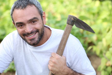 Man with hoe