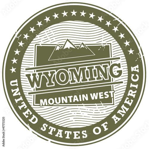 Grunge rubber stamp with text Wyoming, Mountain West, vector