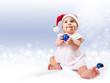 Baby girl in santa's hat