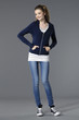 young casual leisure young woman in jeans posing isolated