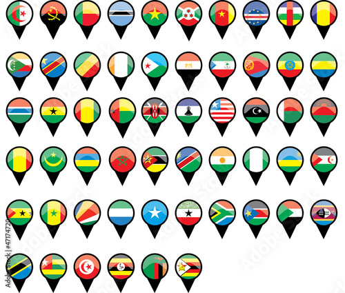 Flags of African countries like pins