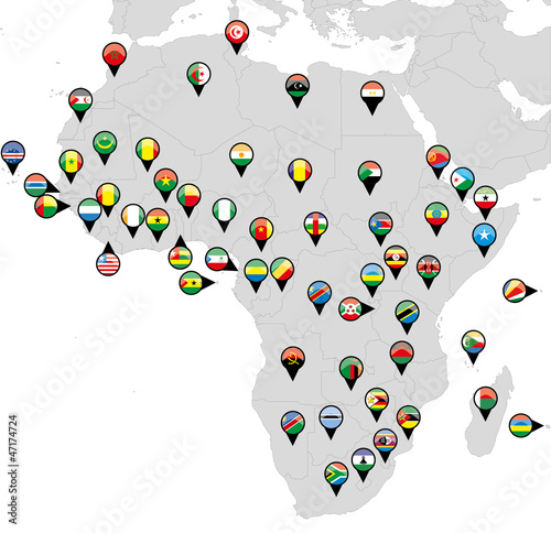 Pinned countries flags on map of Africa