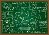 Physical doodles and equations on chalkboard poster