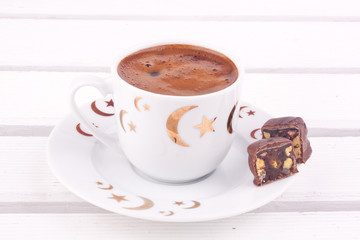 turkish coffee and turkish delight with chocolate