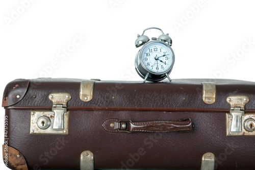 Old suitcase with Alarm Clock