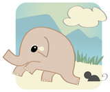 Vector elephant frightened of a mouse