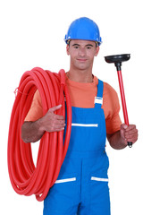Plumber with a plunger