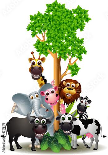 różne zabawne kreskówki safari