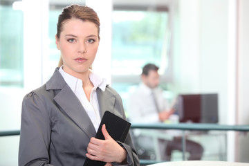 Businesswoman posing with folder at work