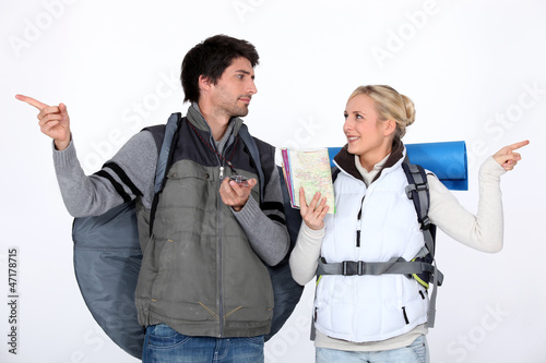 Couple going on hiking trip