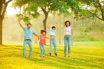 Joyful Asian family