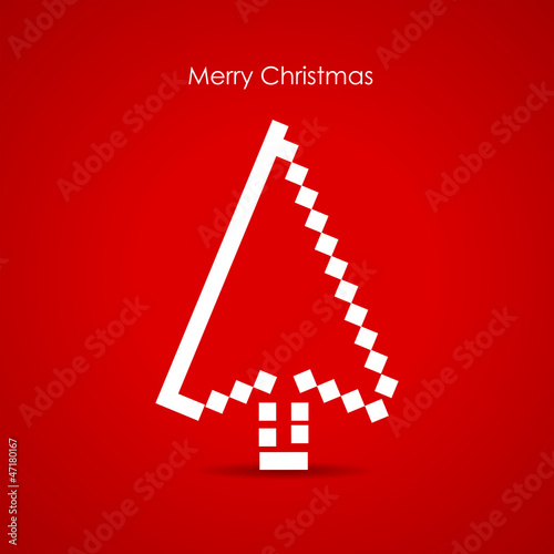 Christmas tree as a cursor, media holidays concept