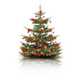 Weihnachtsbaum mit roten Schleifen