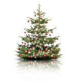 Fototapety Weihnachtsbaum mit Roten Kugeln