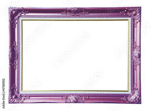 Copper-violet photo frame over white background , clipping path