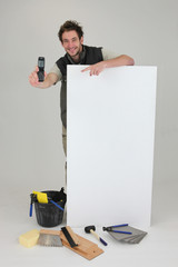 Decorator displaying mobile phone