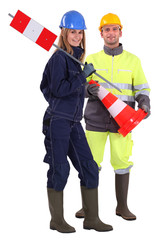Male and female traffic workers
