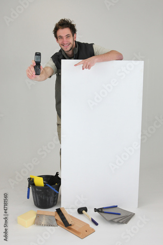 Decorator displaying mobile phone