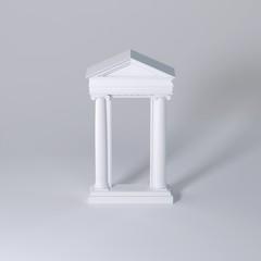 Macro Studio Shot of marble columns on white surface