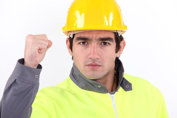A striking tradesman
