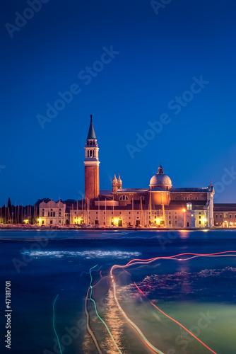 View of San Giorgio maggiore at night Venice,Italy.