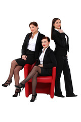 Three sexy businesswomen