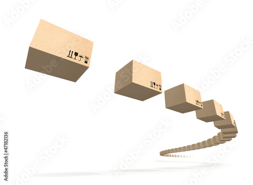 Stream of flying cardboard boxes isolated on white