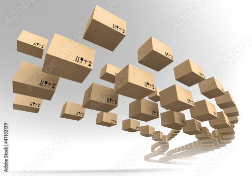 Stream of flying cardboard boxes. Fast accuracy delivery