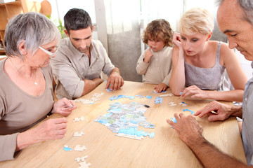 Family making puzzle