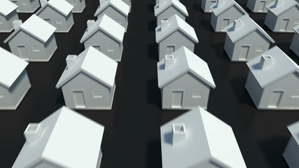 Hundreds of houses in various row