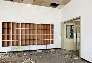old  hotel abandoned , reception