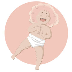 Laughing baby on the pink background
