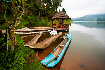 Traditional boats at Lake Bunyonyi in Uganda, Africa